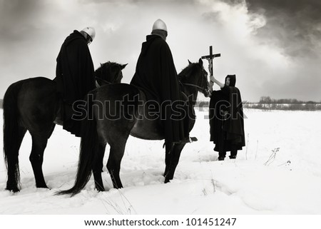 Crusade. Pilgrim blesses the crusaders of the campaign - stock photo
