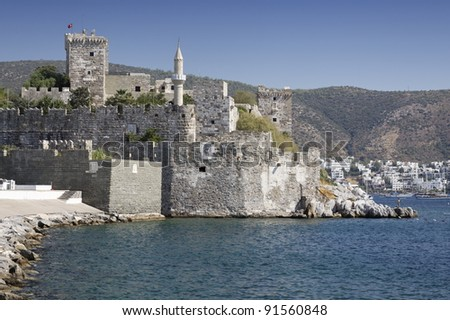 Crusader castle of Bodrum in Turkey - stock photo