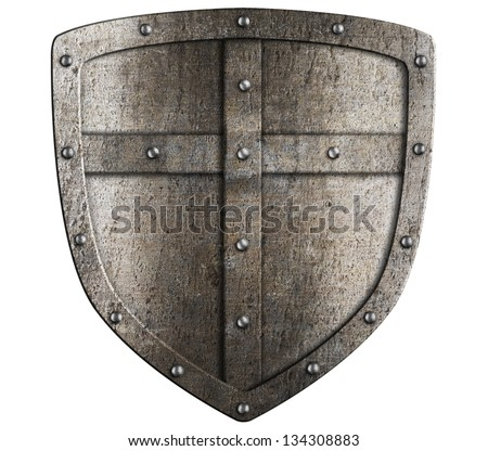 crusader metal shield illustration isolated on white - stock photo
