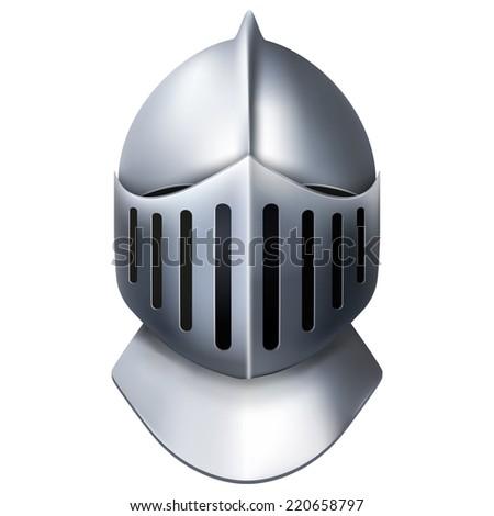 Crusader Metallic Knight's Helmet. Retro style. Illustration isolated on white background. - stock photo