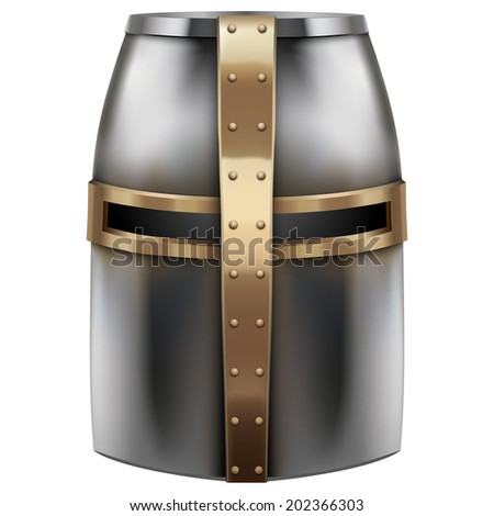 Crusader Metallic Knight's Helmet with a golden cross.  Isolated on white background. Bitmap copy. - stock photo