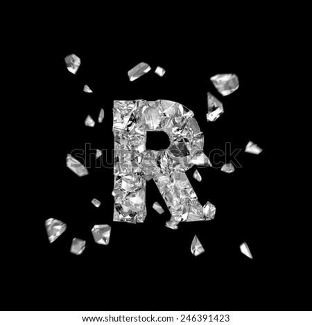 crushed alphabet R - stock photo