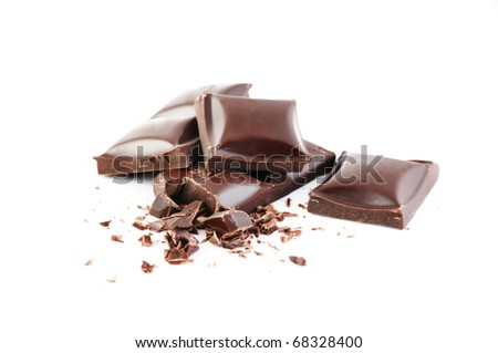 Crushed chocolate bars with grit isolated on white background - stock photo