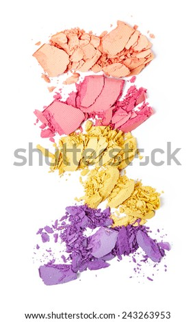 Crushed eye shadow isolated on white background - stock photo