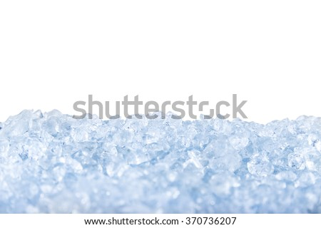 crushed ice in front of the white background . - stock photo
