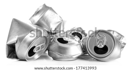 Crushed metal beer cans isolated on white - stock photo