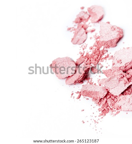 Crushed pink eye shadow isolated on white background - stock photo