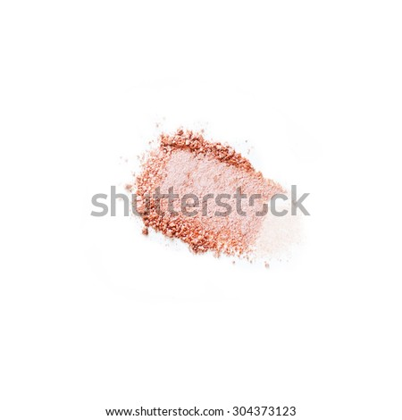 Crushed pink eyeshadow isolated on white background - stock photo
