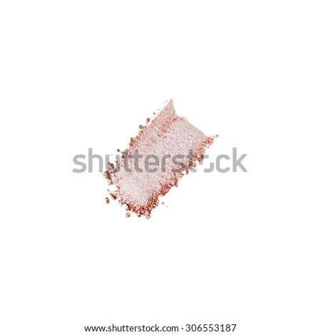Crushed pink eyeshadow isolated on white background - stock photo