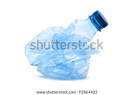 crushed plastic bottle, on white background - stock photo
