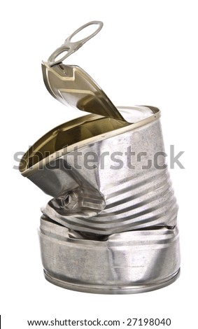 Crushed tin can - stock photo