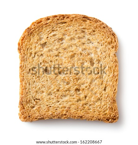 Crusty wholemeal bread toast slice on white background - stock photo