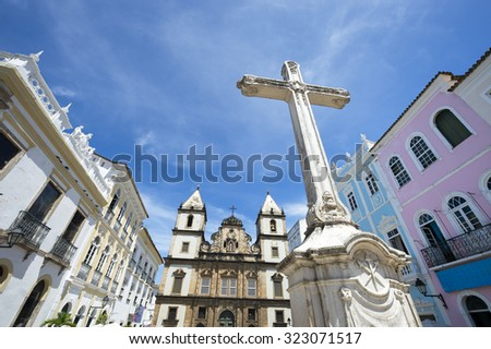 Cruzeiro de Sao Francisco Anchieta colonial Christian cross in Pelourinho Salvador Bahia Brazil - stock photo