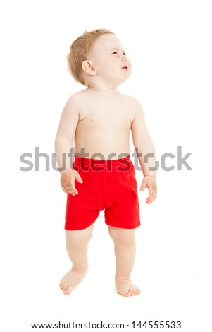crying baby boy isolated. - stock photo
