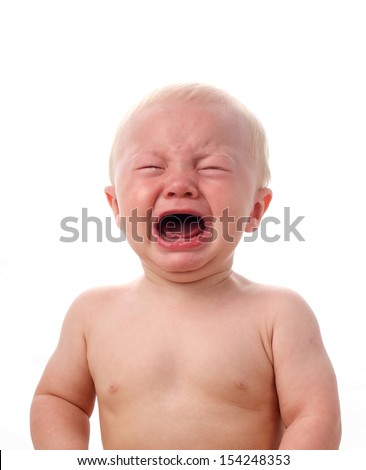 Crying baby boy isolated on white - stock photo