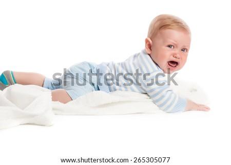 Crying baby boy. Isolated on white background. Studio shot - stock photo