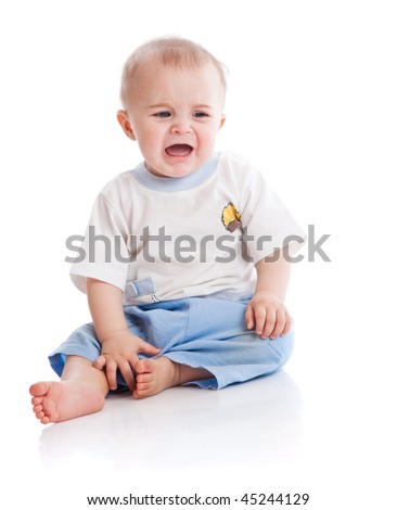 Crying baby. Isolated on the white background - stock photo