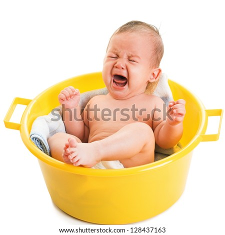 crying boy isolated on white - stock photo