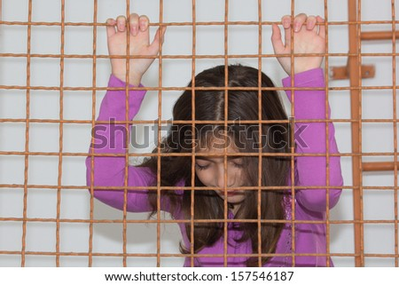 Crying Little Girl. Abuse Child. Domestic and family violence. - stock photo