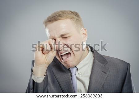 Crying man - stock photo