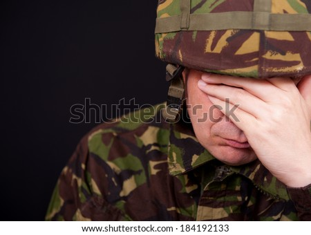 Crying Soldier - stock photo