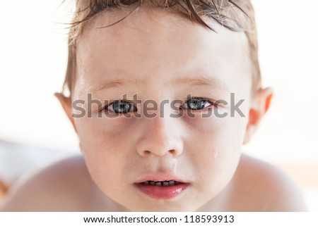 Crying toddler's face - stock photo