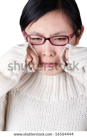 Crying yong girl isolated on white background - stock photo