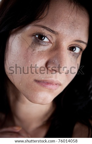 crying young woman, hostage closeup - stock photo