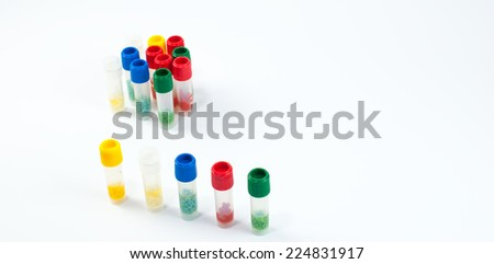 Cryo tubes with cryoperles for microbiological culture preservation. Laboratory concept - stock photo