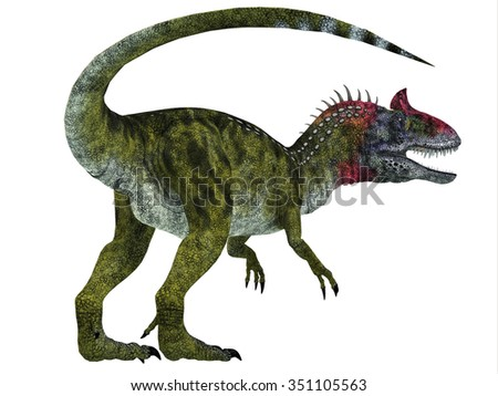 Cryolophosaurus Dinosaur Tail - Cryolophosaurus was a theropod dinosaur that lived in Antarctica during the Jurassic Period. - stock photo