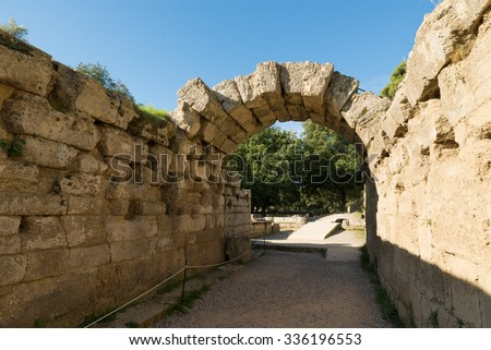 Crypt is the vaulted tunnel leading into the Olympia Stadion, Peloponnese, Greece  - stock photo