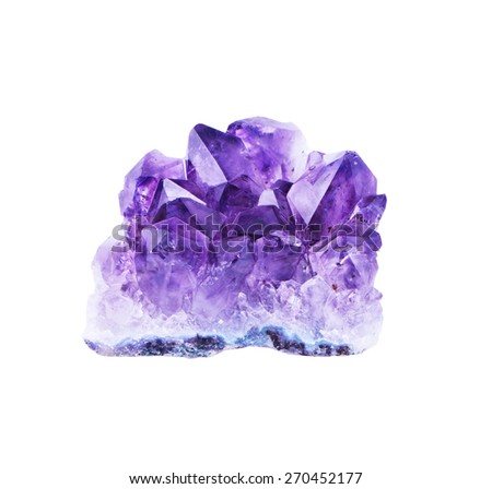 crystal amethyst and white background - stock photo