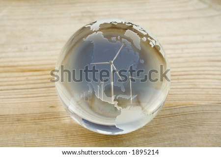 Crystal ball globe with wind farm over North and Central America - stock photo