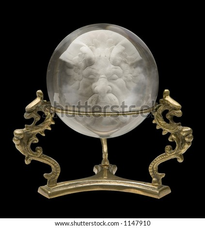 Crystal Ball with Wizard Face isolated - stock photo