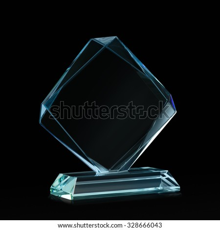 Crystal blank for award isolated on a black background with a clipping path - stock photo