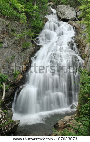 Crystal Cascade in Pinkham Notch, New Hampshire - stock photo