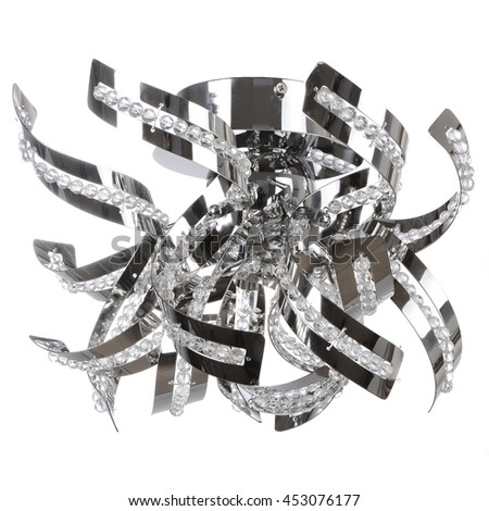 crystal chandelier isolated - stock photo
