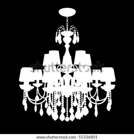 Crystal chandelier isolated on black - stock photo
