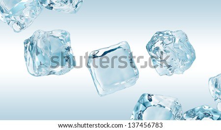 crystal clear ice cubes set, frozen water elements - stock photo
