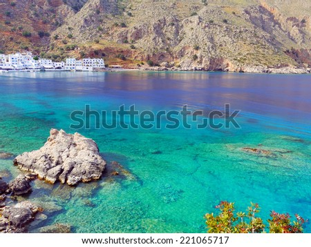 Crystal clear sea near Loutro village,Crete,Greece - stock photo