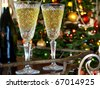 Crystal  glasses with wine bottle on the trolley - stock photo
