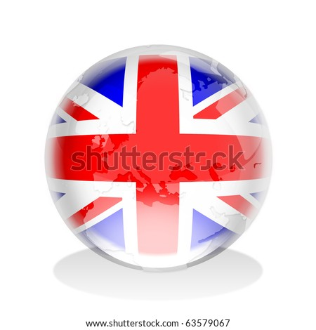 Crystal globe of the United Kingdom flag - stock photo