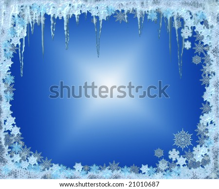 crystal icy winter seasonal frame with snowflakes and frosty icicles - stock photo