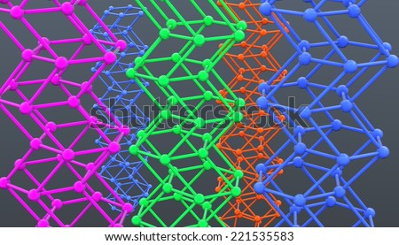 crystal lattice graphene - stock photo
