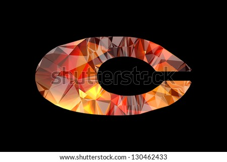 Crystal letter C, isolated on black background. - stock photo