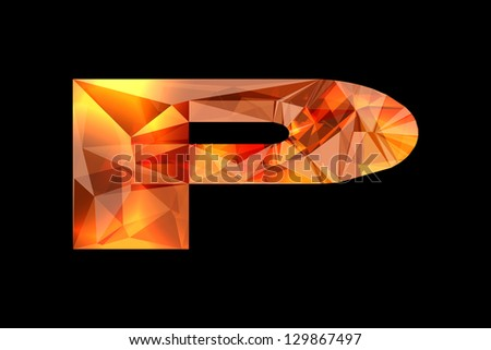 Crystal letter P, isolated on black background. - stock photo