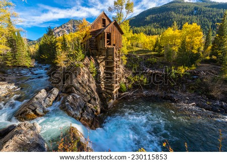 Crystal Mill Wooden Powerhouse located on Crystal River Colorado - stock photo