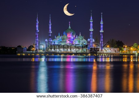 Crystal mosque with moon and star in Kuala Terengganu, Malaysia  - stock photo