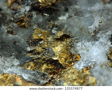 Crystal,nugget, gold, bronze, copper, iron. Macro. Extreme closeup - stock photo