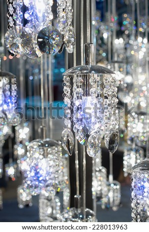 Crystal of modern Chandelier Lamp  in light - stock photo